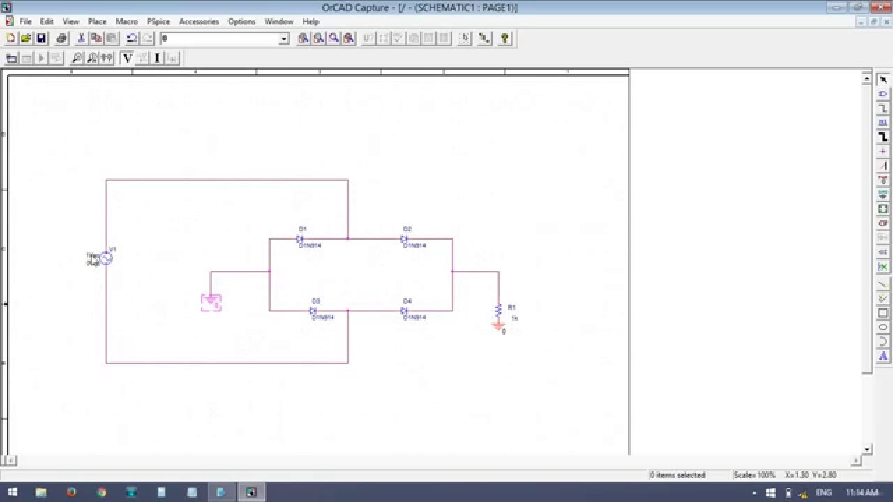 hight resolution of bridge rectifier input output waveforms of full wave rectifier by simulation package