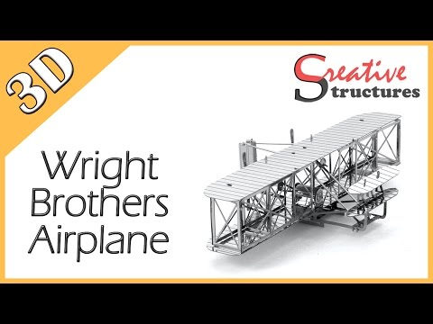 3D metal model & puzzle - Wright Brothers Airplane (Aviation)