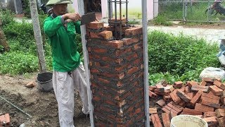 How To Buiding Brick Columns Extremely High With Brick And Mortar - Amazing Construction Project