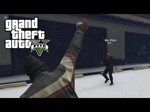 EPIC SNOWBALL FIGHT! | GTA V: Online
