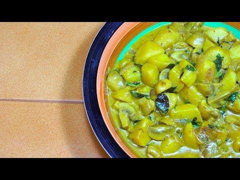Potato Mushroom Curry - Vegan Recipes  - Indian Veg Masala - Potato Curry - Mushroom Curry - Vegan