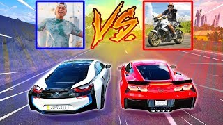 BMW I8 DO JON VLOGS VS CORVETTE DO RENATO GARCIA - FORZA HORIZON 3 - GAMEPLAY - ft. Getaway Driver