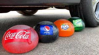 Experiment Car vs Coca Cola, Fanta, Mirinda Balloons   Crushing Crunchy & Soft Things by Car Test Ex
