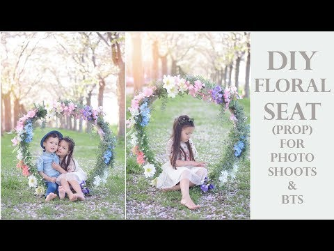 DIY Floral Seat (Photo Shoot prop) Log Holder Circle Swing with Flowers