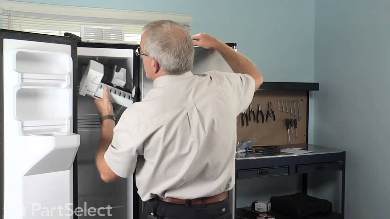refrigerator & freezer repair - replace ice maker kit (ge part #  wr30x10093) - youtube