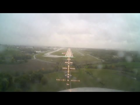 Bad weather landing in rainy Geneva (LSGG) Citation Mustang