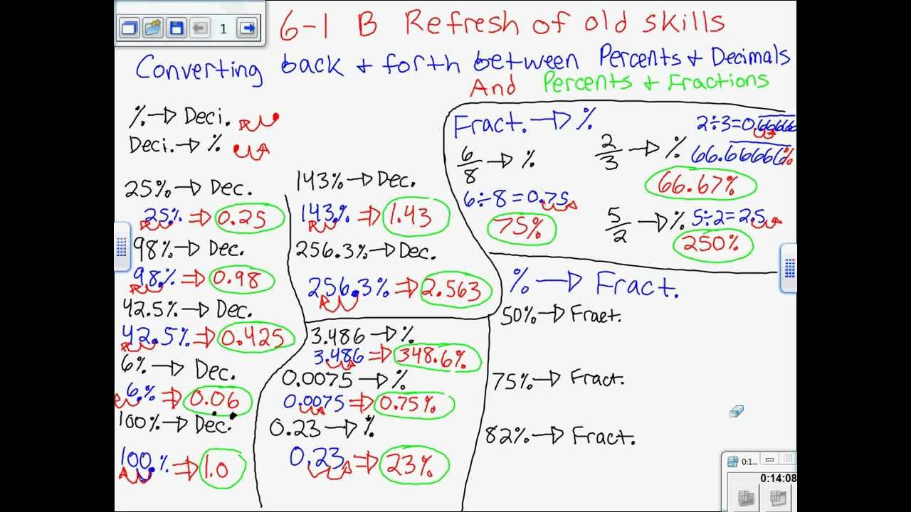 hight resolution of 6-1 B Refresher- Converting Between Percents \u0026 Decimals and Percents \u0026 Fractions  7th Grade Math - YouTube