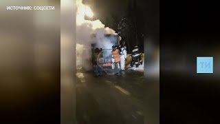 Видео с горящим красным автобусом в Казани
