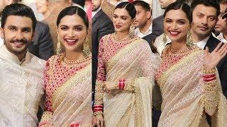 Deepika Padukone Looks Gorgeous In Saree With Ranveer Singh At Isha Ambani Wedding