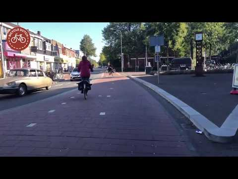 Riding a bicycle in Hilversum (Netherlands)