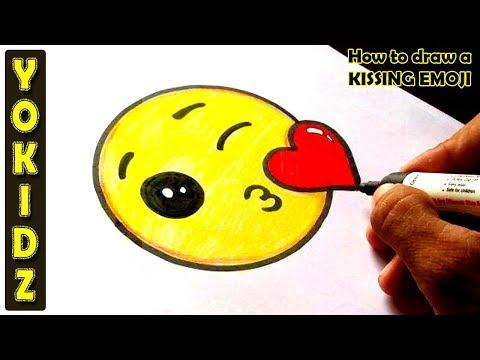 How To Draw A KISSING EMOJI