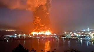video: Watch: Fire engulfs pier in San Francisco's iconic Fisherman's Wharf
