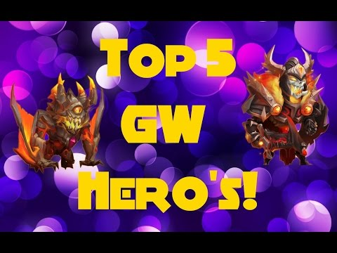 Castle Clash; TOP 5 BEST GW HEROS OFFENSE!