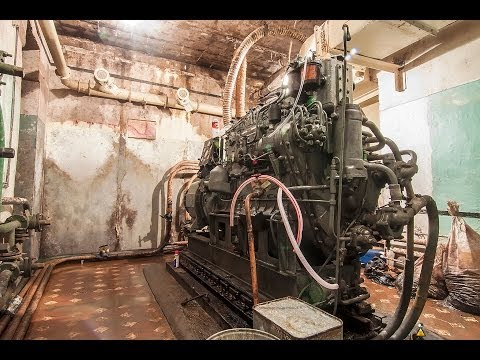 Diesel generator engine cold start after 10 years in bunker. GRAUZTI.LV (ENG/LAT/RUS SUBS)