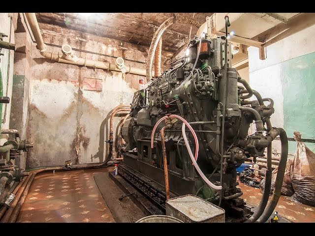 Diesel generator engine cold start after 10 years in bunker. GRAUZTI.LV (ENG/LAT SUBS)