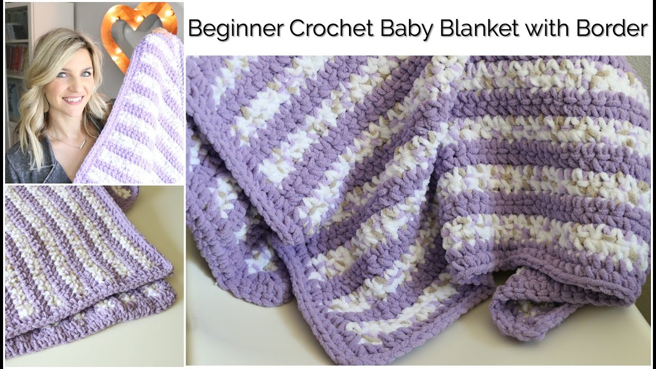 Beginner Crochet Baby Stripes Blanket with Border:Baby Series - YouTube