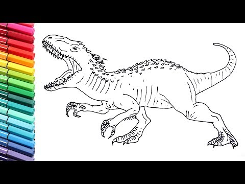 Drawing and Coloring Indominus Rex From Jurassic World - Dinosaurs ...