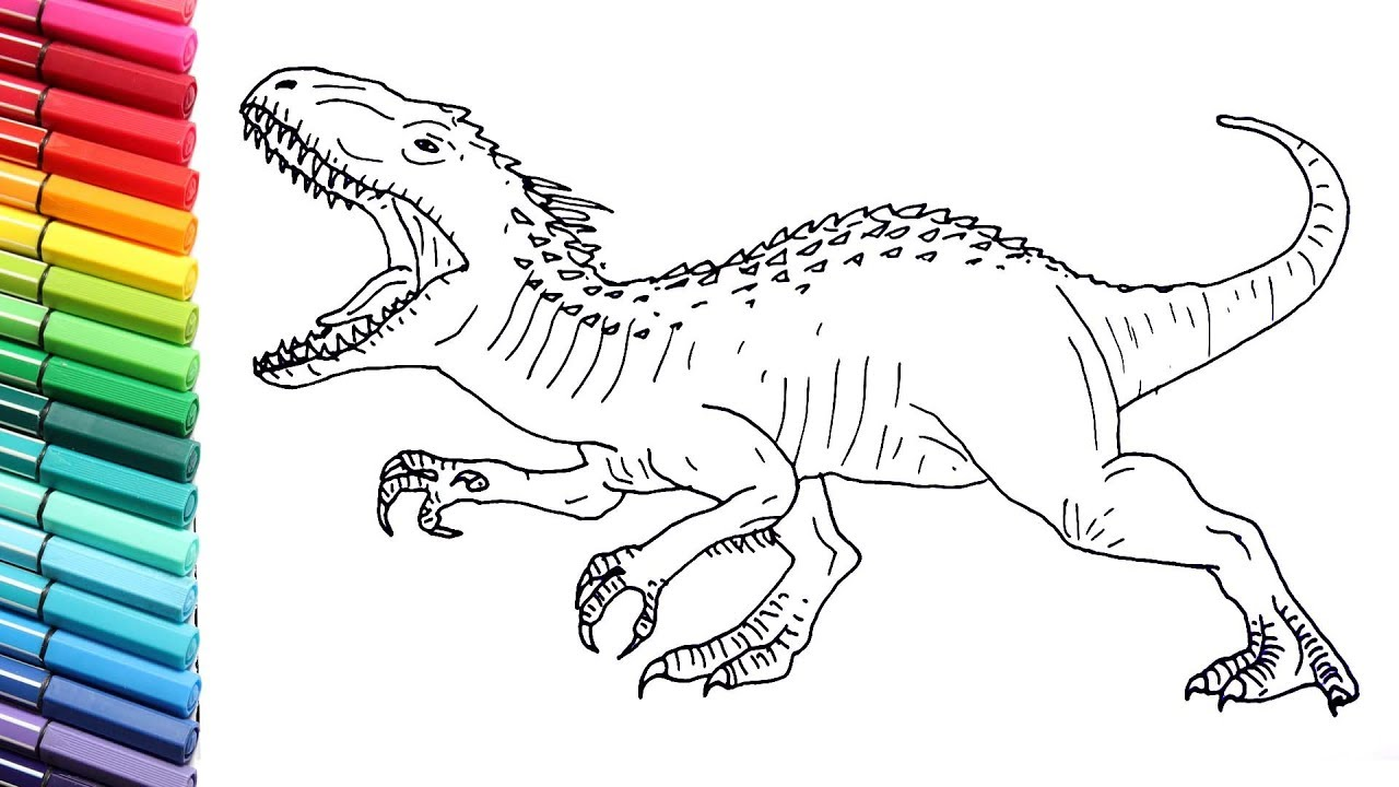 Drawing And Coloring Indominus Rex From Jurassic World Dinosaurs