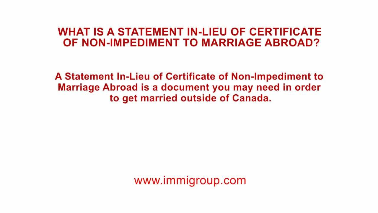 What Is A Statement In Lieu Of Certificate Of Non Impediment To