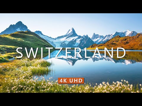 SWITZERLAND (4K UHD) Ambient Drone Film + Best Meditation Piano Music for Stress Relief 2020