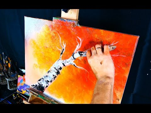 Simple oil painting of a birch tree step by step demo for beginners
