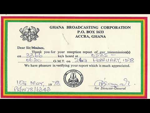 GBC - Ghana Broadcasting Corporation 3366 KHz - Accra - Sign On and News in English - 1981