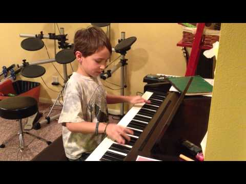"""7 Year-old Kid Playing """"Somewhere Only We Know"""" By Keane"""