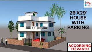26x29 modern east facing house with parking || RK Survey & Design