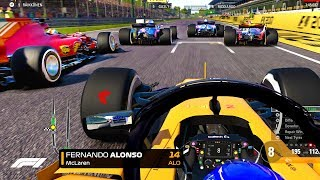 4 CAR OVERTAKE! CHASING GLORY FOR ALONSO! - F1 2018 Mod CAREER MODE Part 12