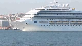 The Costa Fortuna cruise ship leaving Lisbon