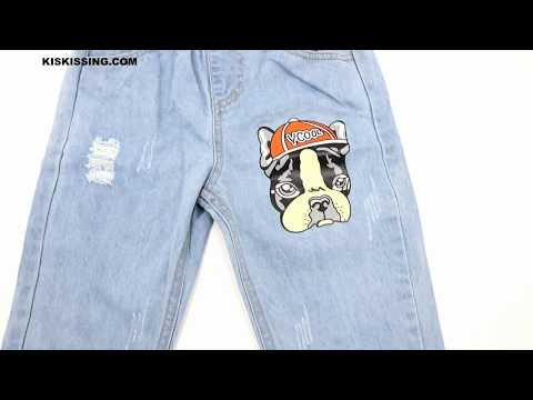 Cool Dog Pattern Jeans Denim Trousers Pants For Toddlers Boys Wholesale