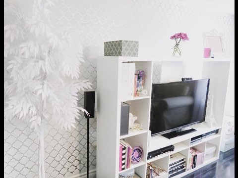 DIY   How to Stencil Paint A Wall   Metallic Edition
