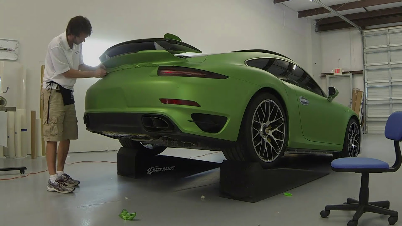 2014 Porsche 911 Turbo S Vinyl Wrap Matte Green Metallic Car