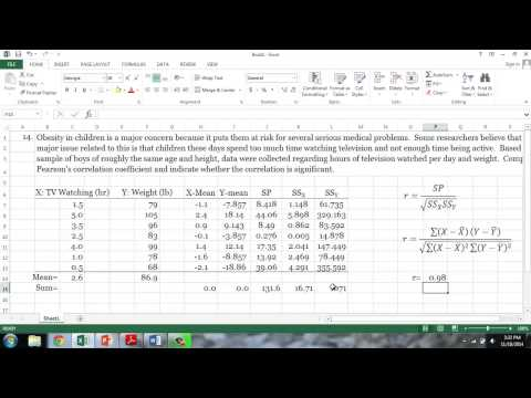 Calculating Pearsons Correlation Coefficient Using Excel