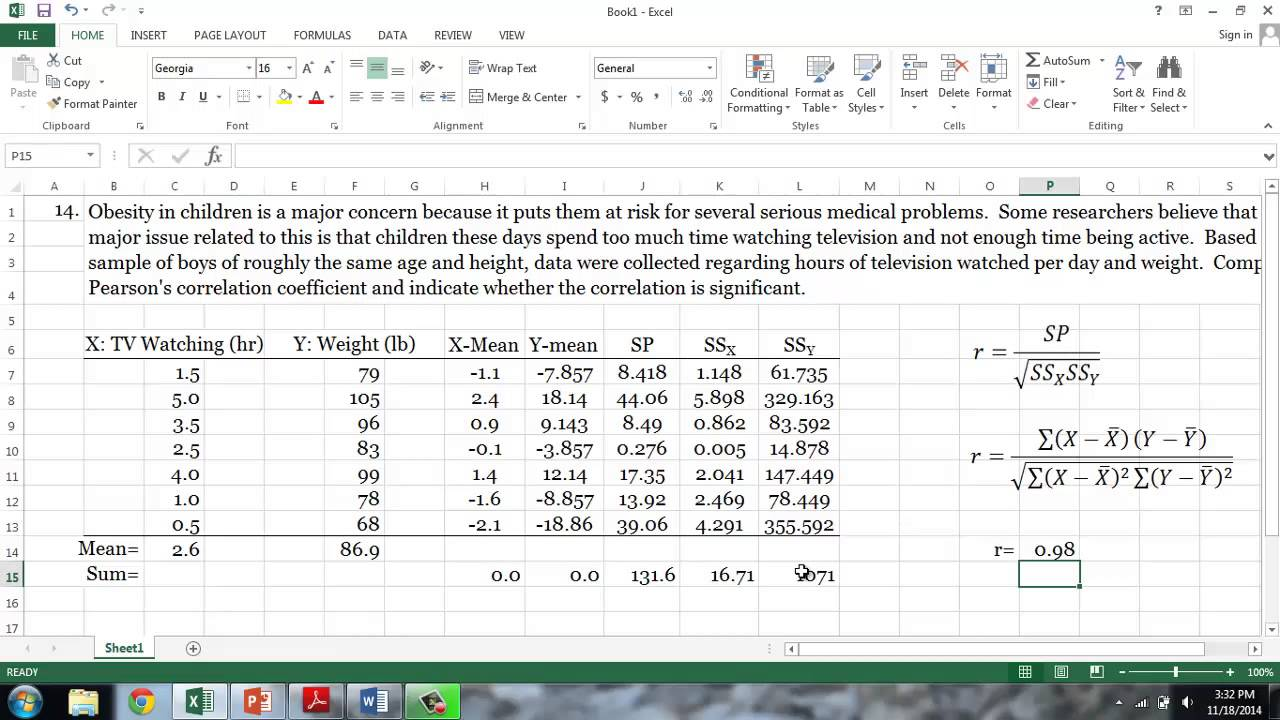Calculating Pearson's Correlation Coefficient Using Excel YouTube