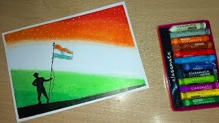 Independence day special step by step oil pastel drawing for kids and beginners