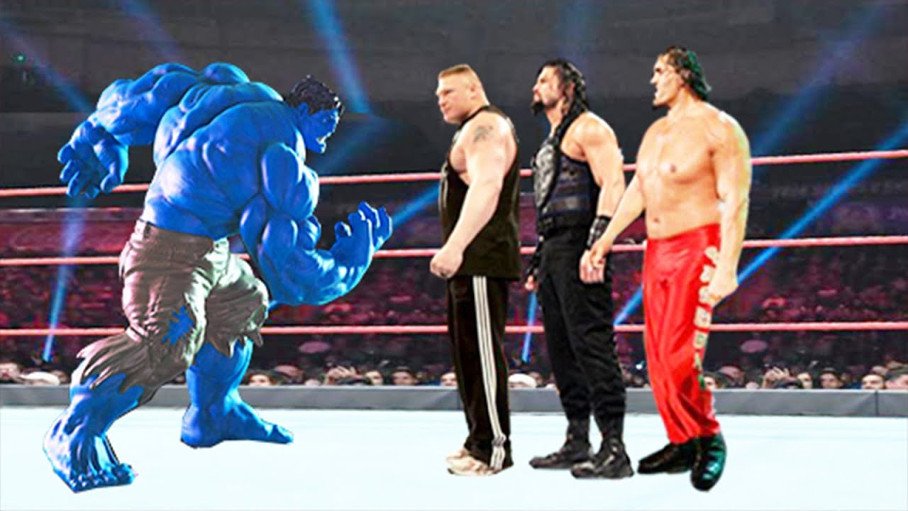 Download Blue Hulk vs Roman Reigns, Brock Lesnar & The Great Khali