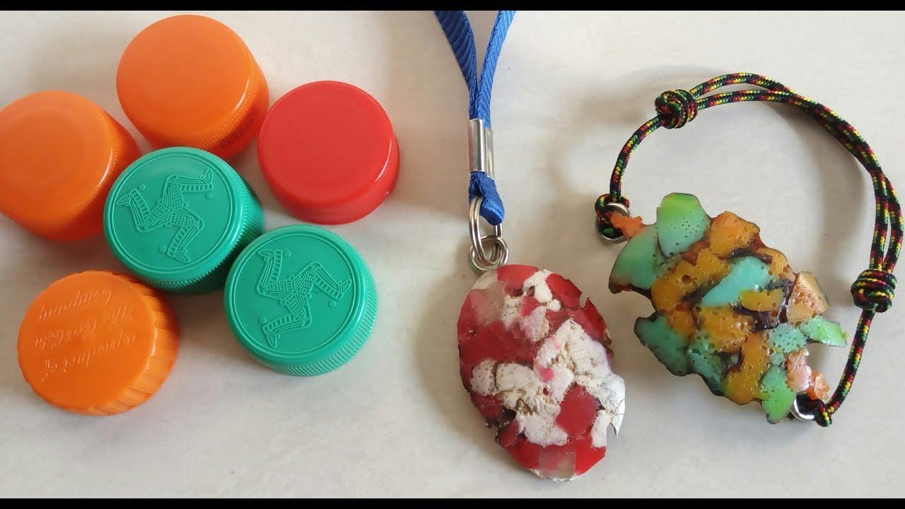 Membuat gelang dan kalung dari limbah tutup botol plastik - YouTube f5ea4cb242