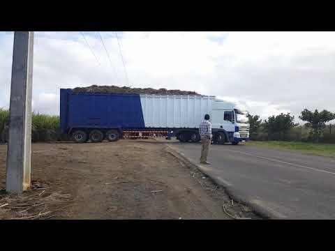 Faizal truck transporting sugar cane in Mauritius To Terra Sugar Industry