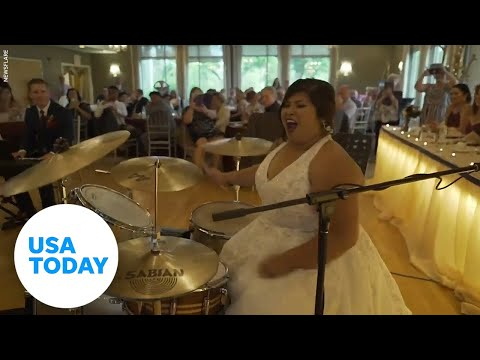 Bride shows off incredible drum skills on wedding day   USA TODAY