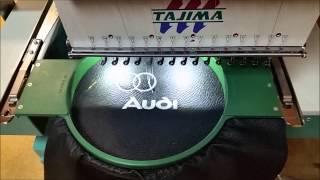 вышивальная машина Tajima вышивка на кожзаме