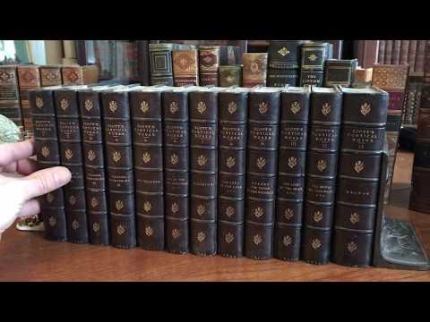 Sir Walter Scott 12 volume leather bound set 1833 Cadell fine old books