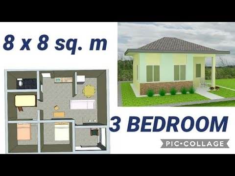 Simple House Plan 8x8 Sq Meter 3 Bed Rooms Youtube