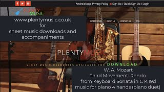 Mozart W. A.   Third Movement: Rondo from Keyboard Sonata in C K.19d music for piano 4 hands
