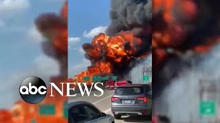 Massive tanker fire shuts down highway   ABC News