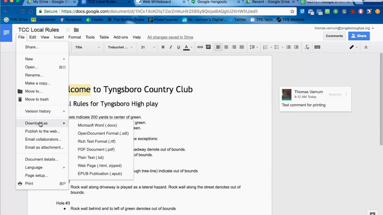 Printing Comments From Google Docs Youtube