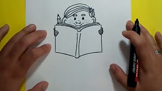 Como dibujar a un niño leyendo paso a paso 2 | How to draw a child reading 2
