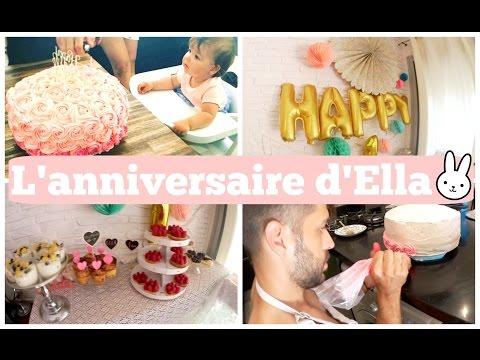 Décoration et goûter d'anniversaire de bébé Ella