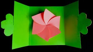 DIY, How To Make Folding Folwer Card With Paper | کاردستی، ساخت گل کاغذی