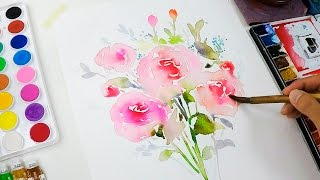 DIY Watercolor Invitation : Painting Flowers